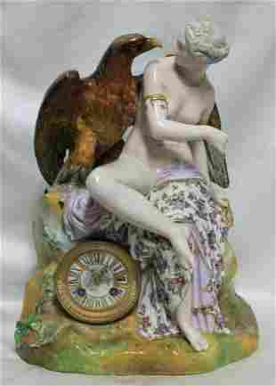 19th Century Porcelain Figure with a Clock