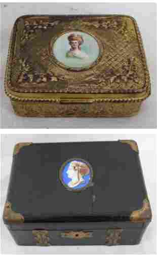 Two Dresser Boxes with hand painted porcelain plaque