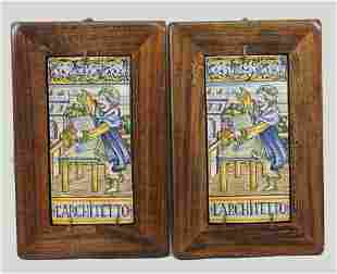 Two Italian Renaissance Style Framed Faience Plaques