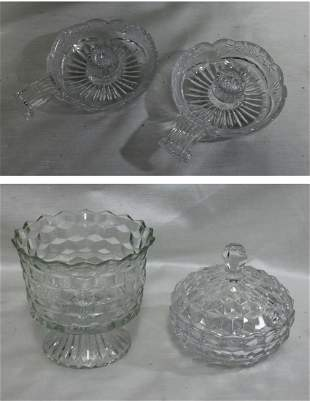 Pair Old Crystal Hand Cut Single Candle Holder & Two