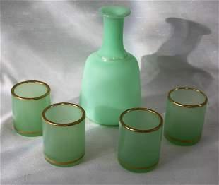 FIVE PIECES ANTIQUE 19 CENTURY OPALINE GLASS SET
