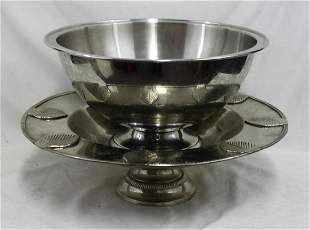 Large Silver plated Bowl and Footed Plate