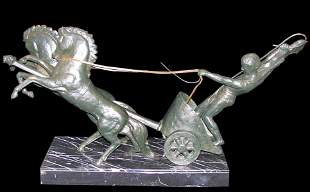 Bronze Chariot, Early 20th Century Signed