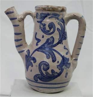 Probably 17-18 century Italian blue Pitcher