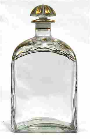 Vintage Liquor Bottle with Gold Trim and Ground Glass