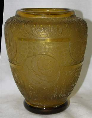 1920's French Etched Yellow Glass Vase.