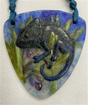 Art Nouveau Pate de Verre Pendant Necklace, Almeric-V.