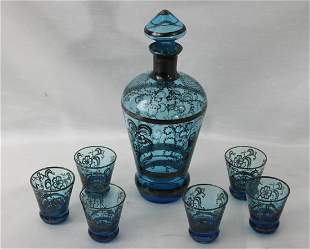 Six-piece Silver Resist-Decorated Blue Glass Cordial