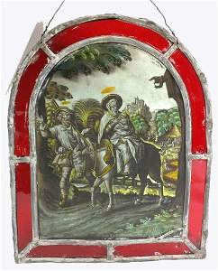 Flemish Stained Glass Hand Painted Reverse Painting