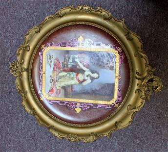 19 Century French portrait of a woman plaque