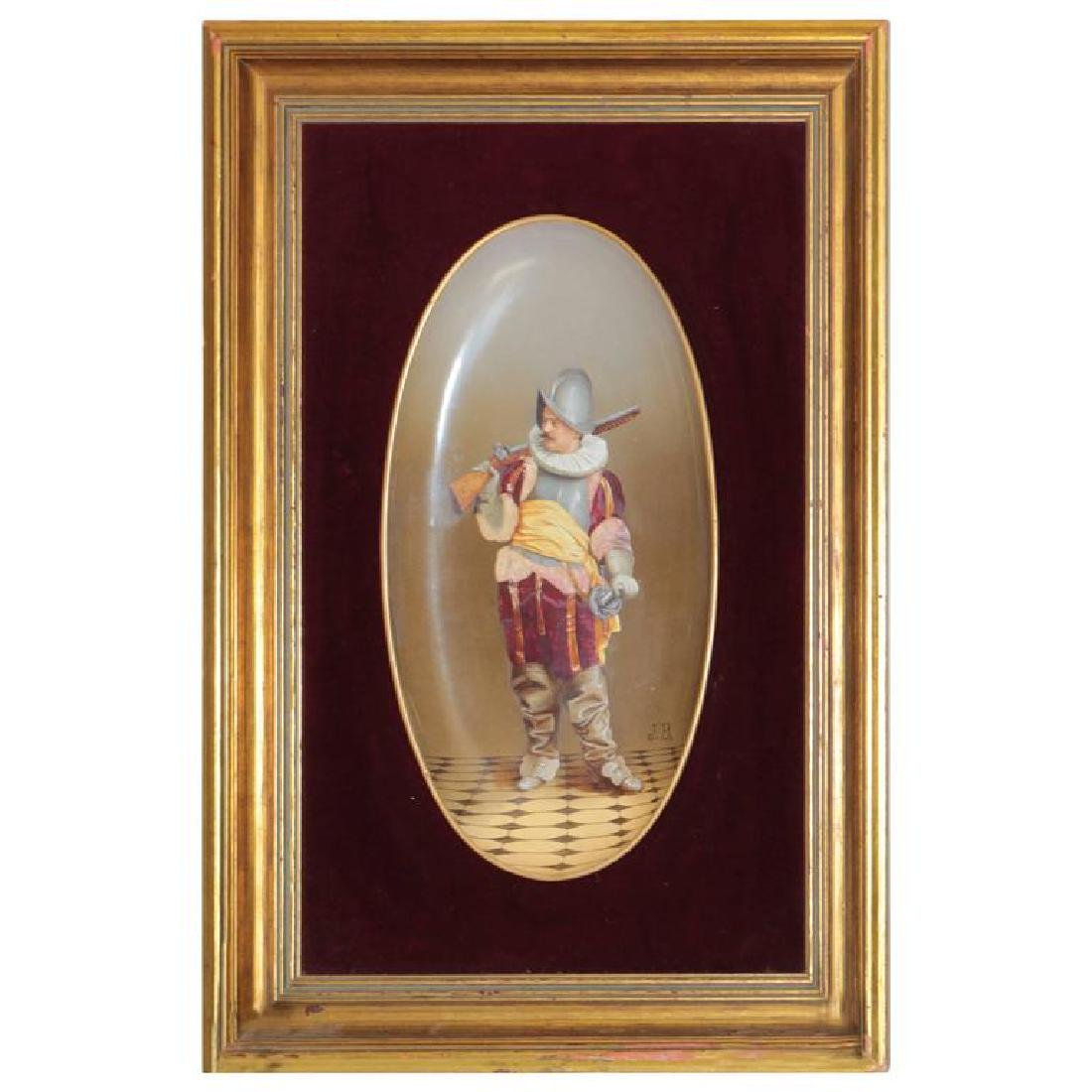 Framed Signed J.B. Hand-Painted Porcelain Plaque with