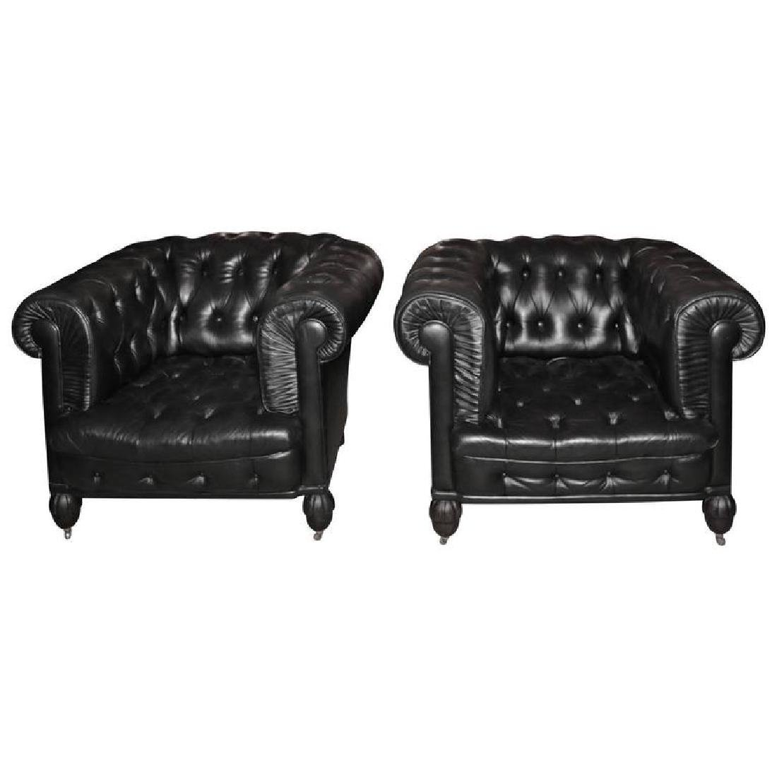 Pair of Chesterfield Leather Tufted Club Seats