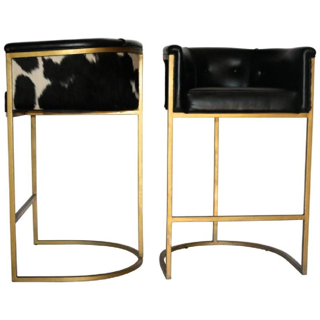 Pair of Modern Arteriors Calvin Leather and Hide