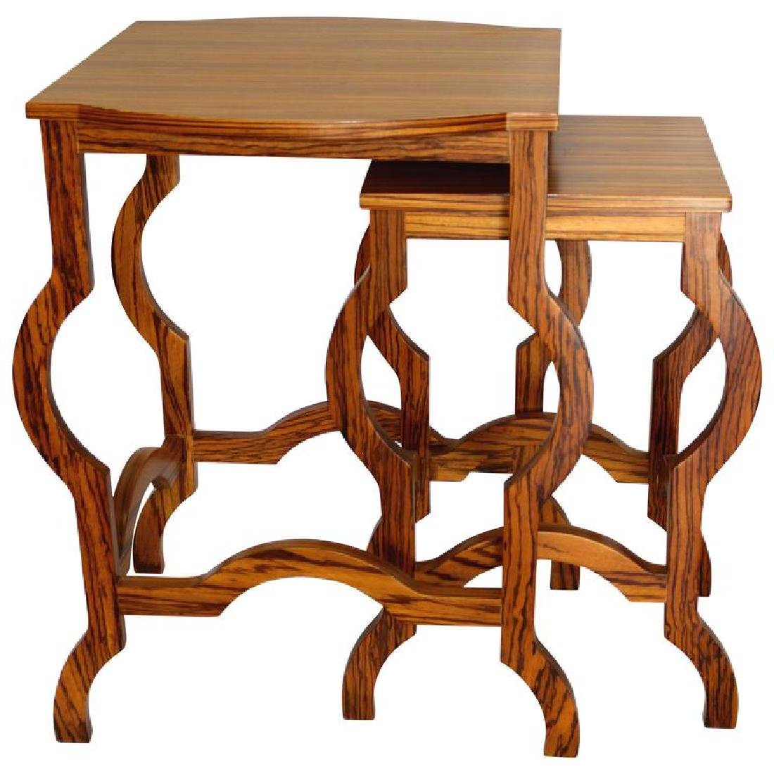 Elegant Two-Piece Modern Zebra Wood Nesting Table Side