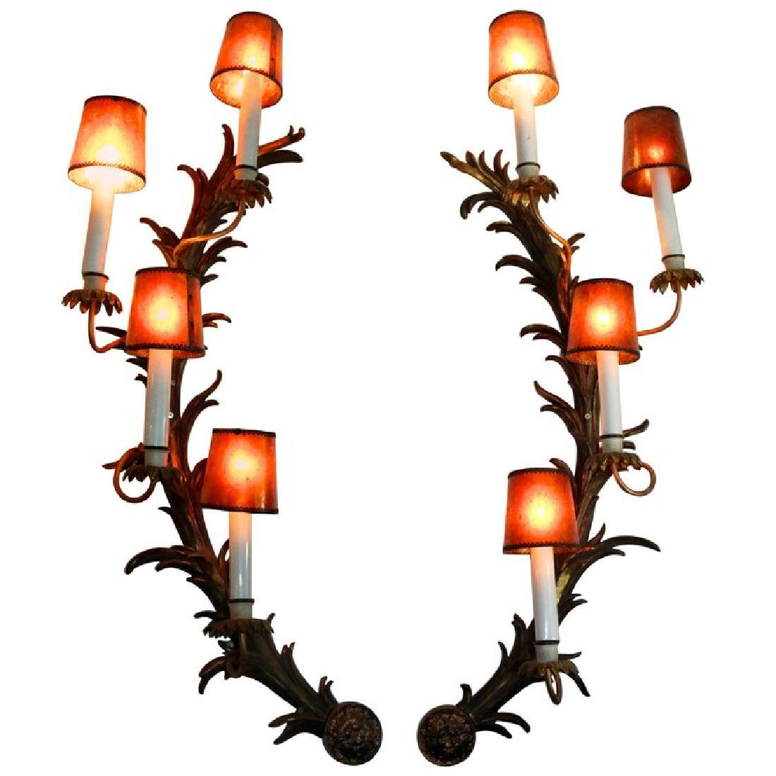 Pair of french Rococo Half Moon Sconces