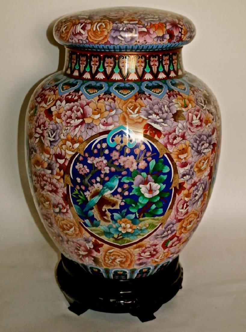 Cloisonne Japanese Brass Enameled Vase with Rosewood