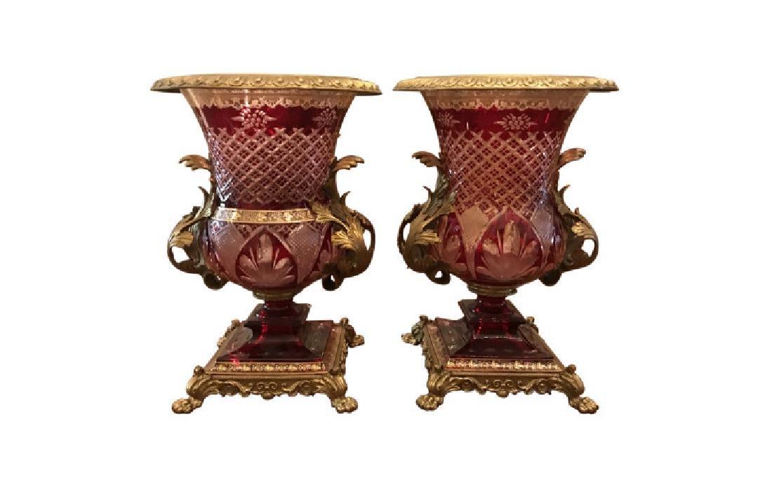 Gilt Bronze Mounted Cranberry Flashed Cut Glass Urns