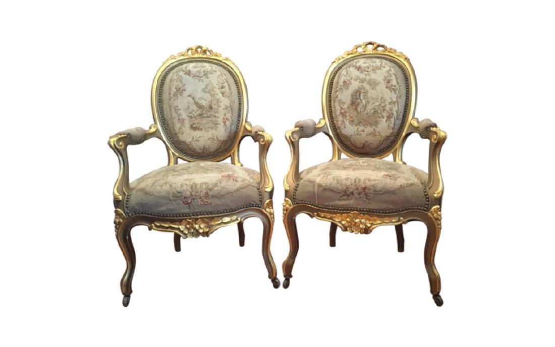 Louis XV Style Gilt-wood Tapestry Upholstered Fauteuils