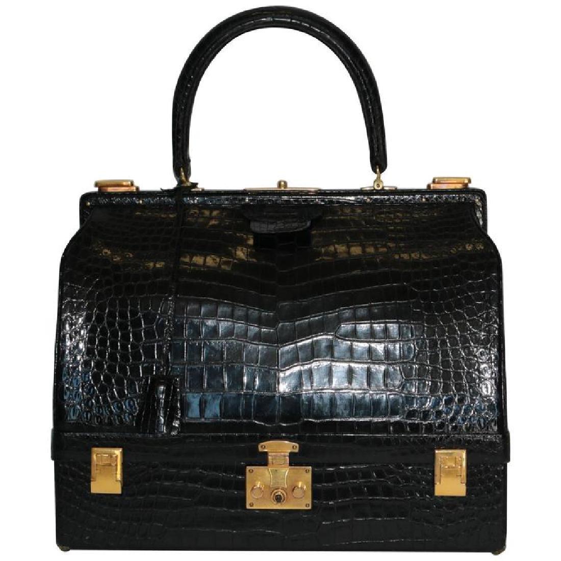 Hermes Shiny Black Crocodile Sac Mallet Bag with Gold