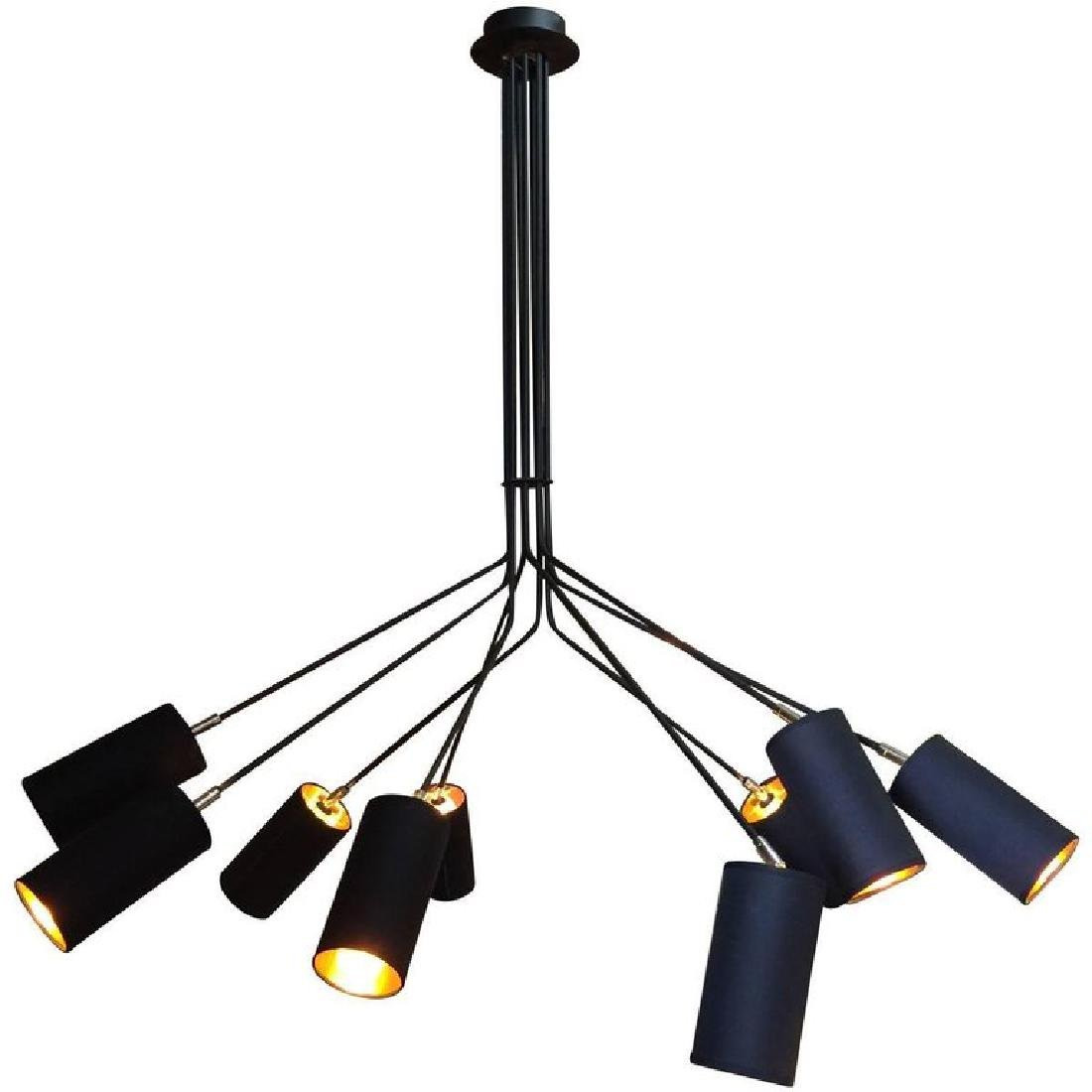 Modern Enameled and Chromed Metal Nine-Arm Chandelier