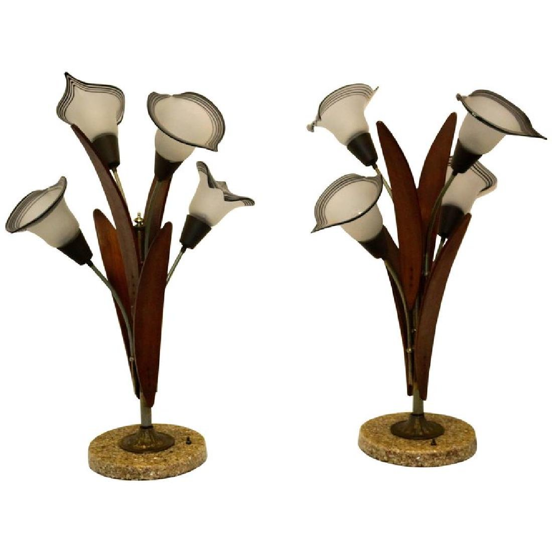 Pair of Mid-Century Teak Wood Table Lamps with Glass