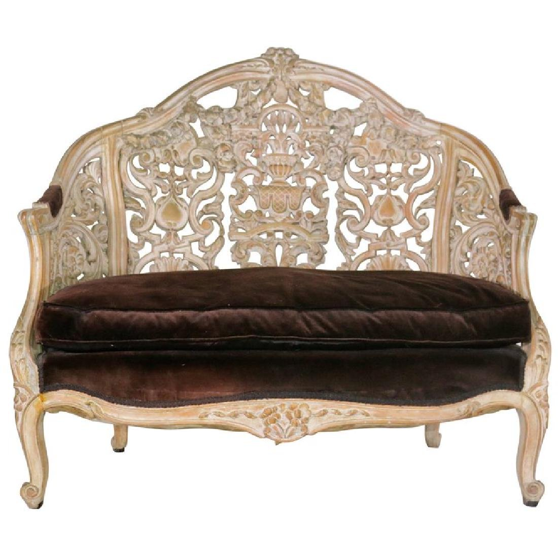 19th Century Italian Heavily Hand Carved Baroque Settee