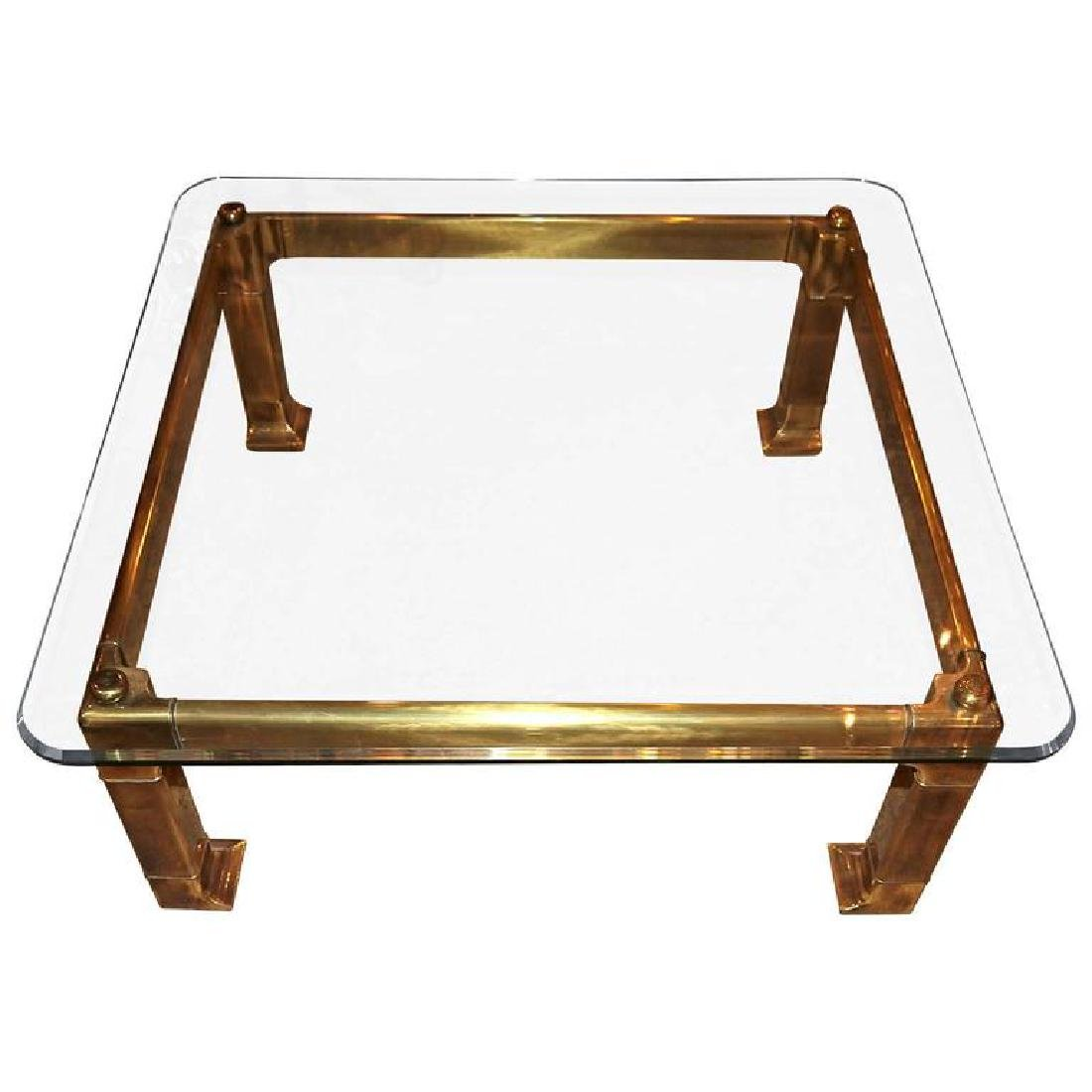 1970s Mastercraft Brass and Beveled Glass Coffee Table