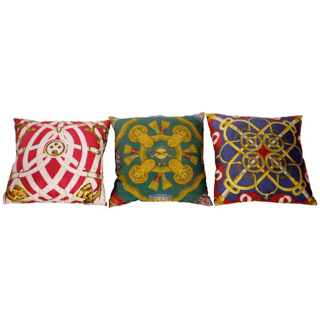 Set of Three Authentic Hermes Two Side Silk Cushion