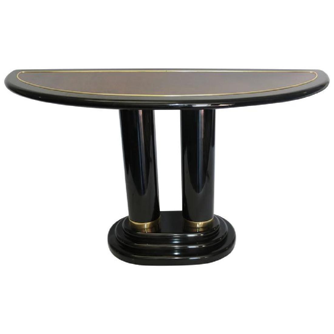 Henredon Pedestal Modern Black Lacquer Console Table