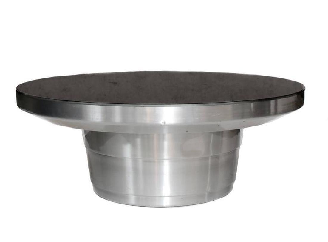 Vintage Modern Aluminium Mirrored Top Round Cocktail