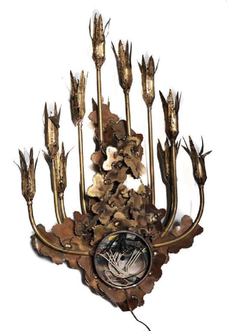 Brass Brutalist Candelabra Wall Sconce by Tom Greene