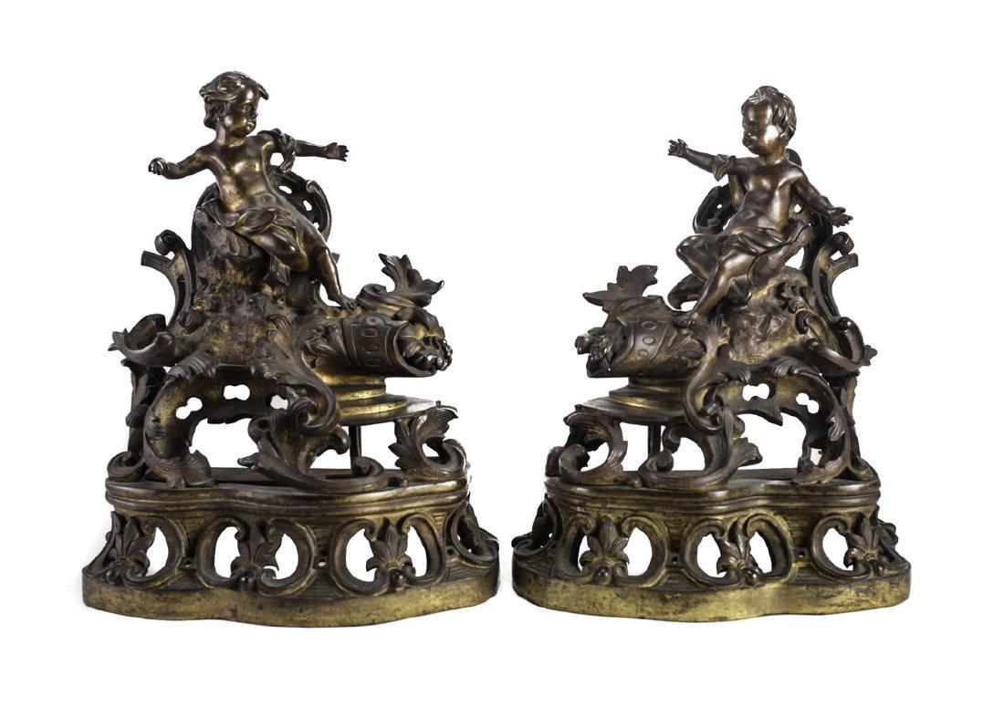 Pair French Gilt Bronze Chenet Putti / Cherubs, 19th