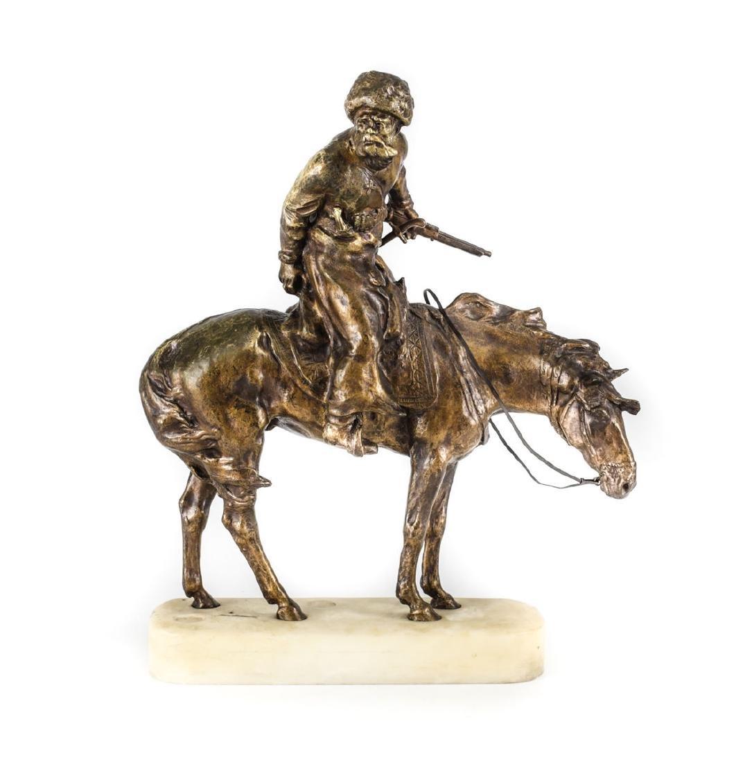 Rene Paris (French 1881-1970) Bronze / Marble Cossack