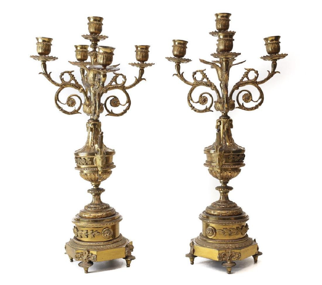 Charming Pair of Continental Gilt Bronze Candelabras,