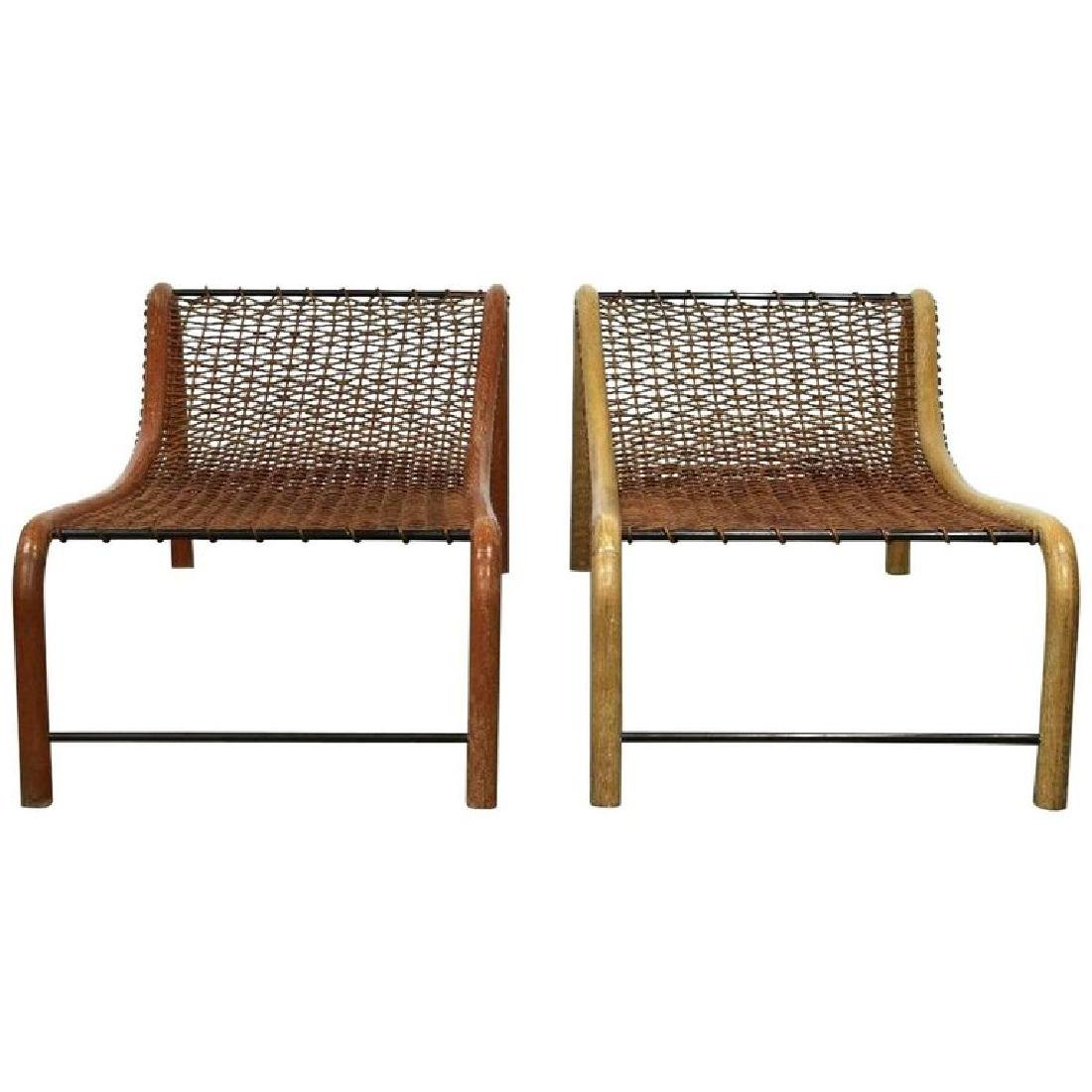 William Emwerson Bentwood Chaise Lounge Chairs Woven