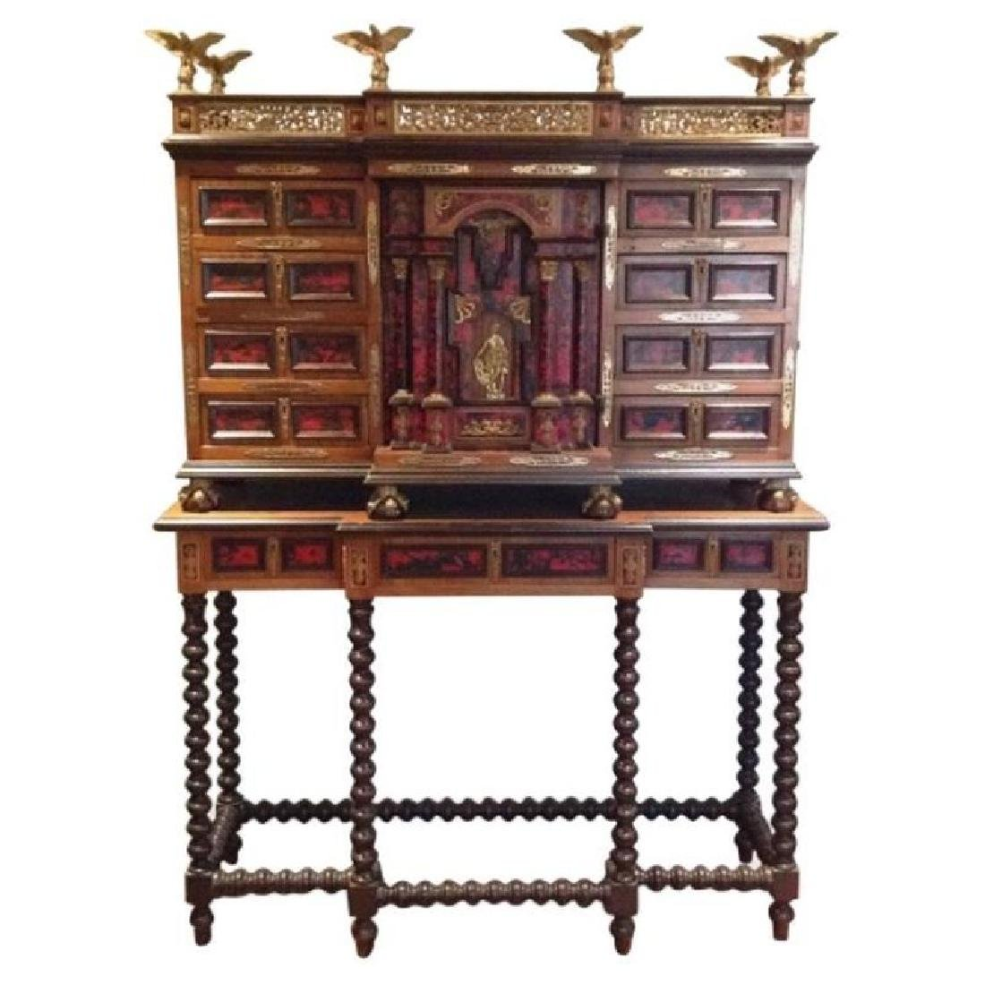 Antique Spanish Baroque Style Vargueno Cabinet on Stand