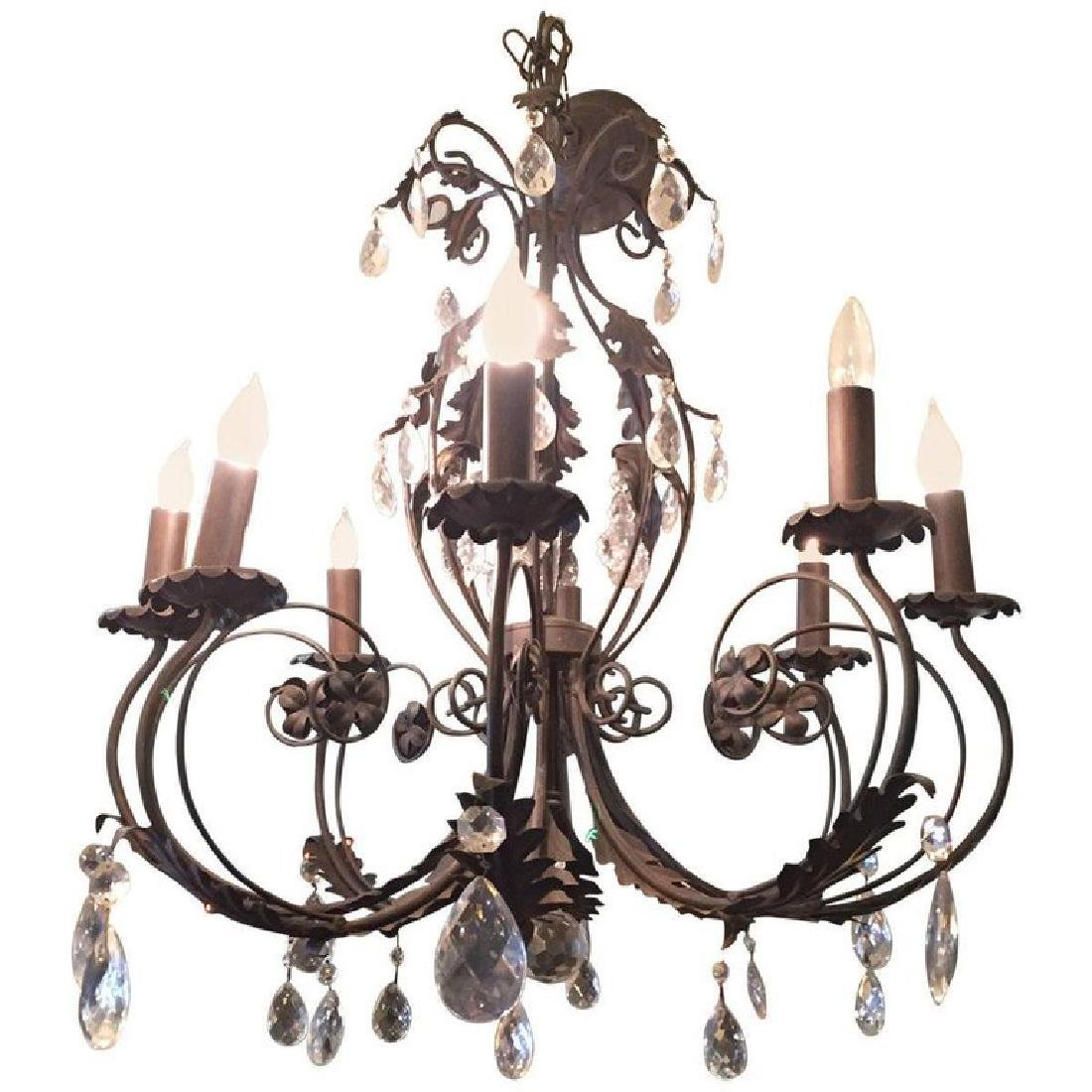 Italian Wrought Iron and Crystal Chandelier