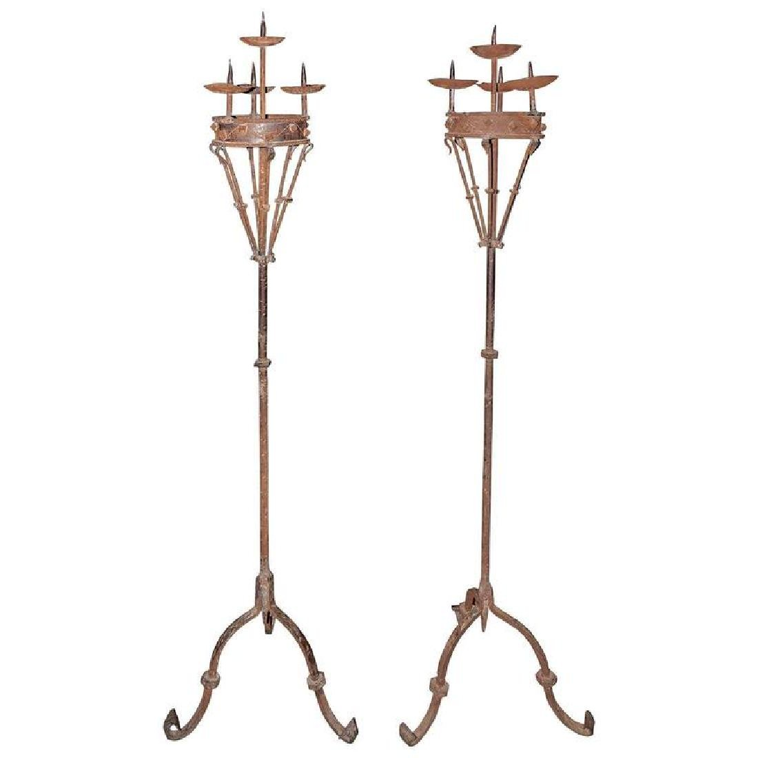 Pair of Early 19th Century Spanish Forged Iron Candleho