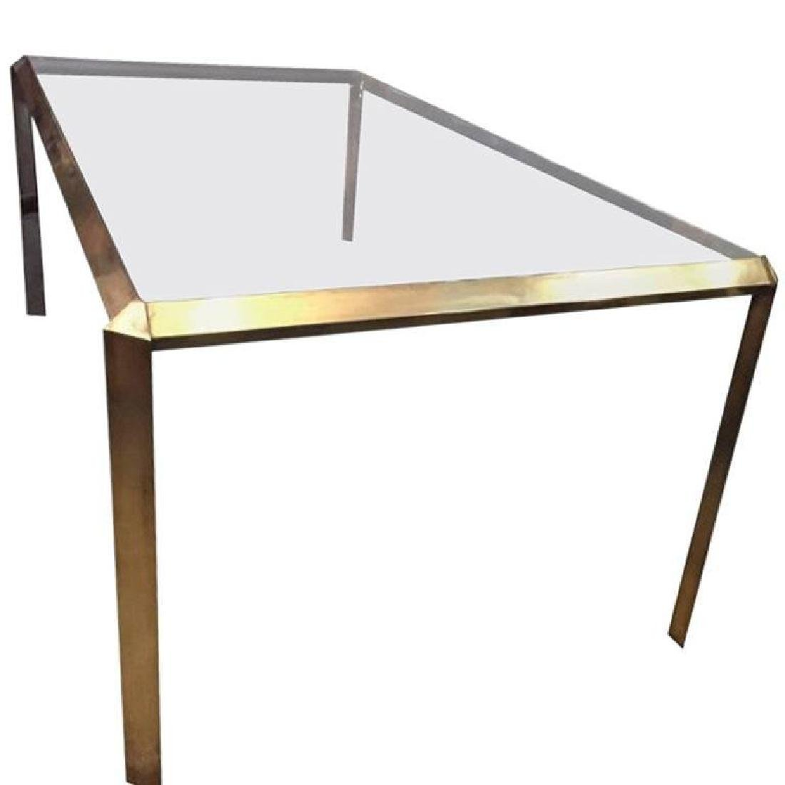 Mid-Century Modern Sculptural Brass Dining Table with T