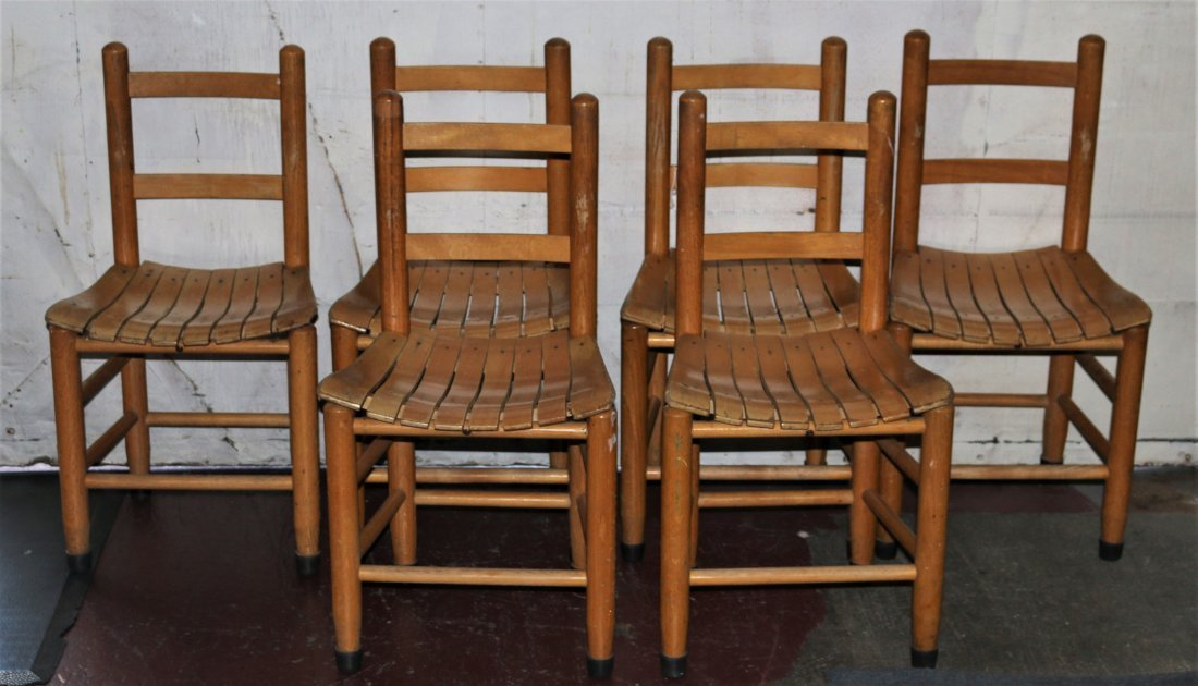 Set of Six Ladder Back Children's Chairs Late-20th