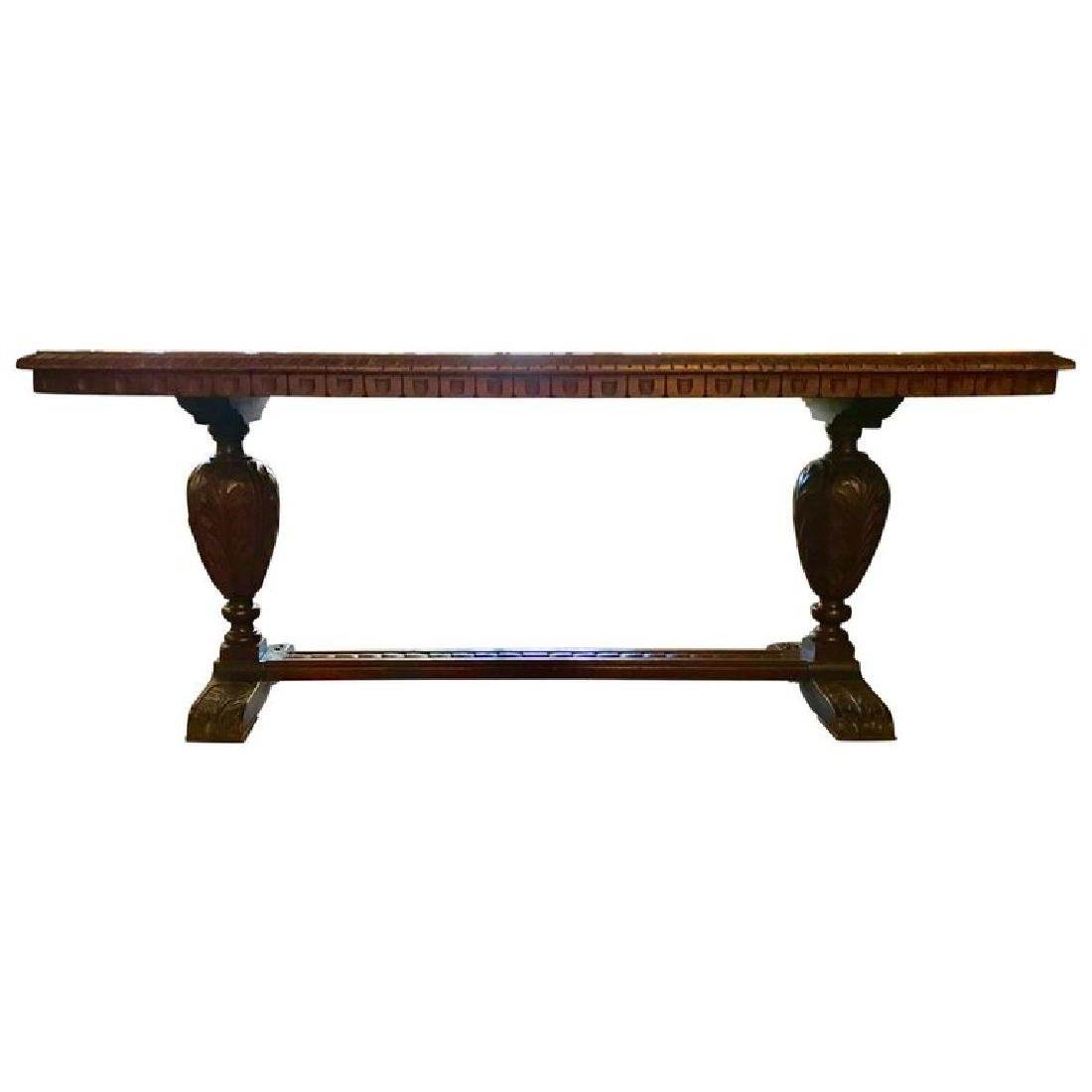 Renaissance Style Carved Walnut Refectory Table