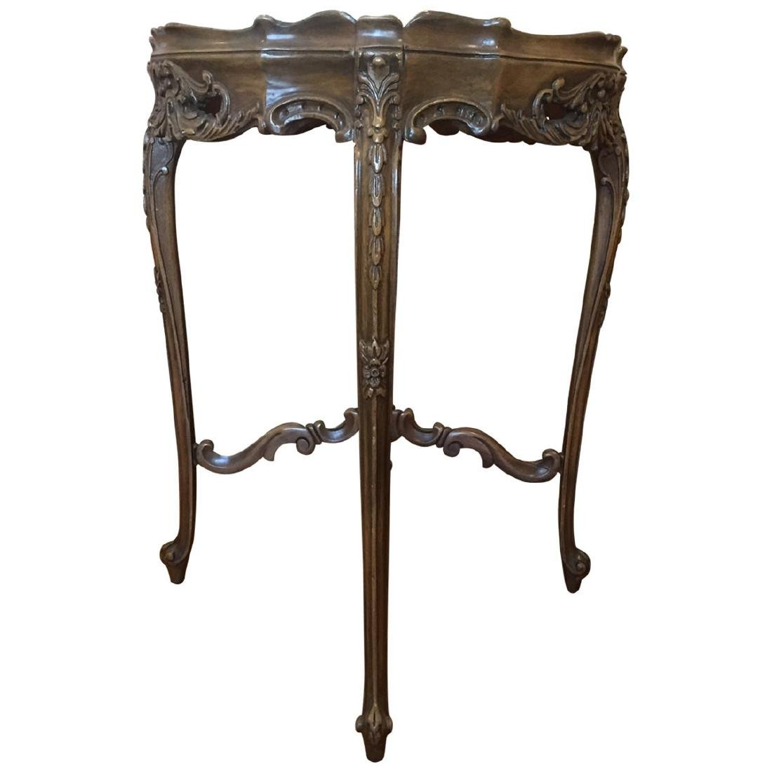 Rococo Style Inlaid Walnut Side Table - 2