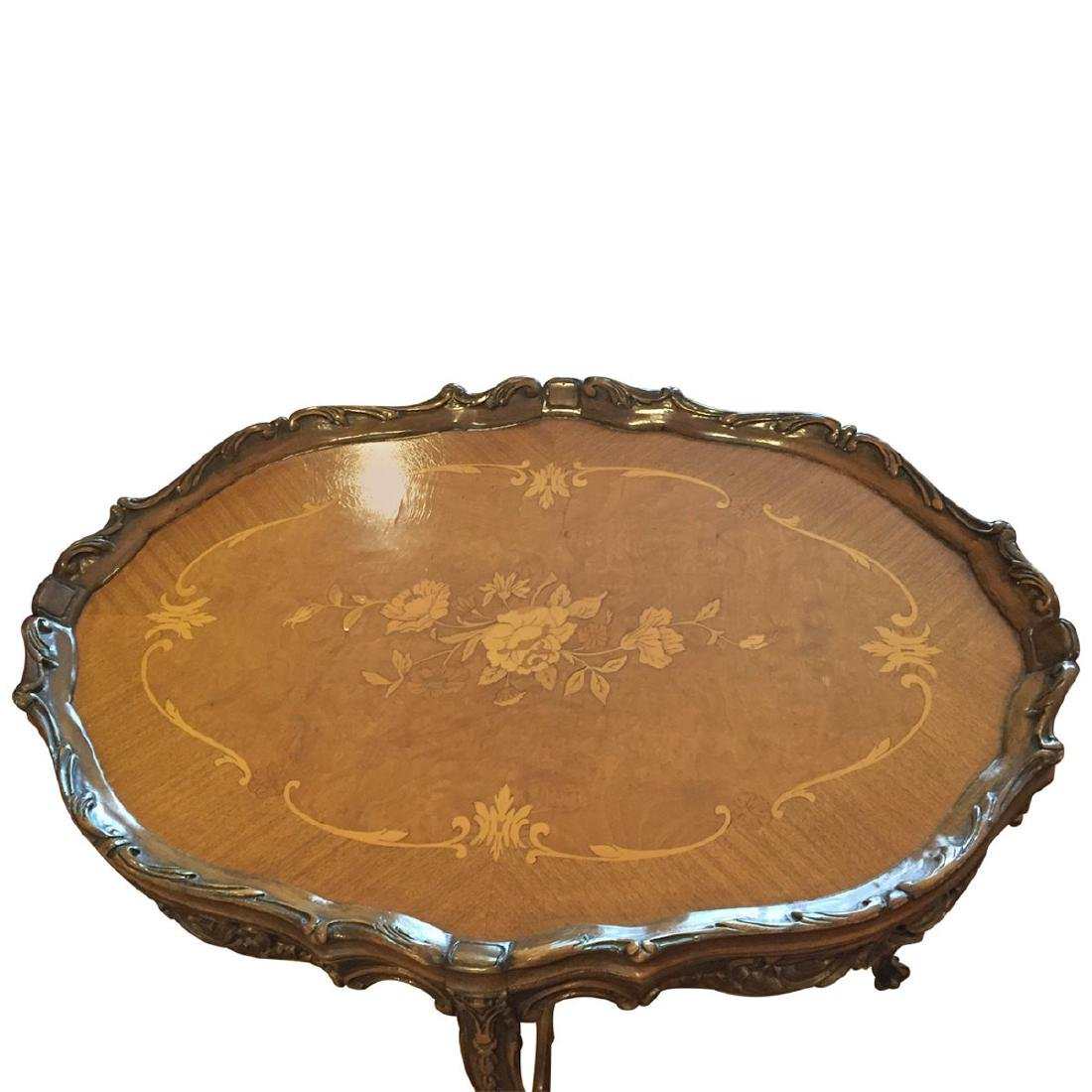 Rococo Style Inlaid Walnut Side Table - 3