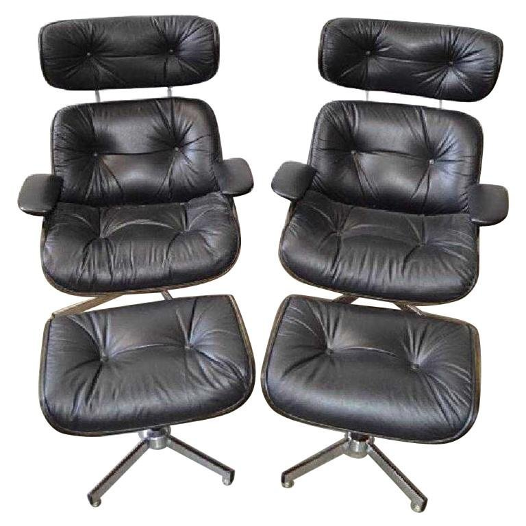 Pair of Eames Style Mid-Century Modern Lounge Chairs