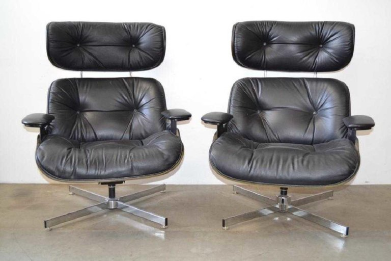 Pair of Eames Style Mid-Century Modern Lounge Chairs - 2