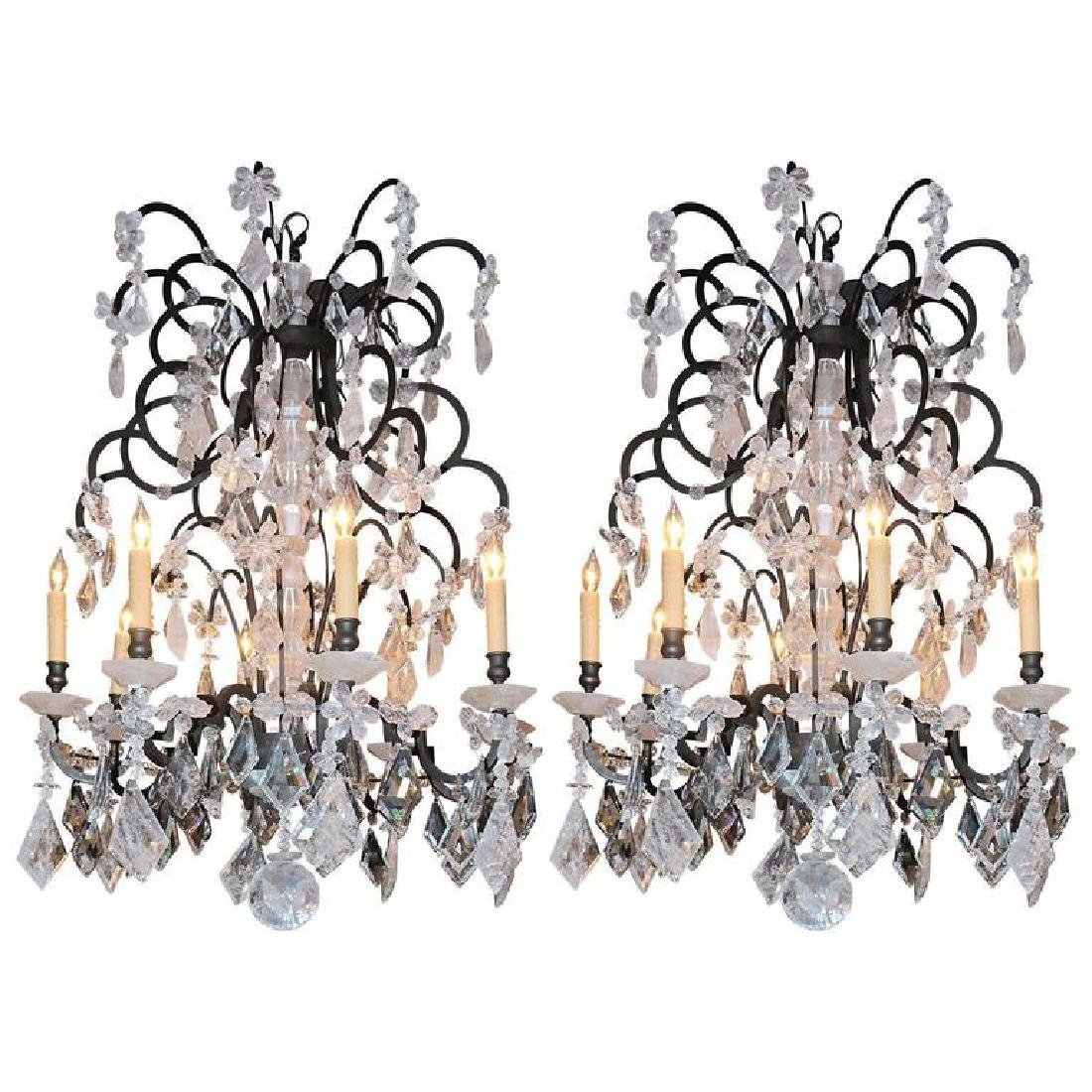 Pair of Modern Rock Crystal Chandliers