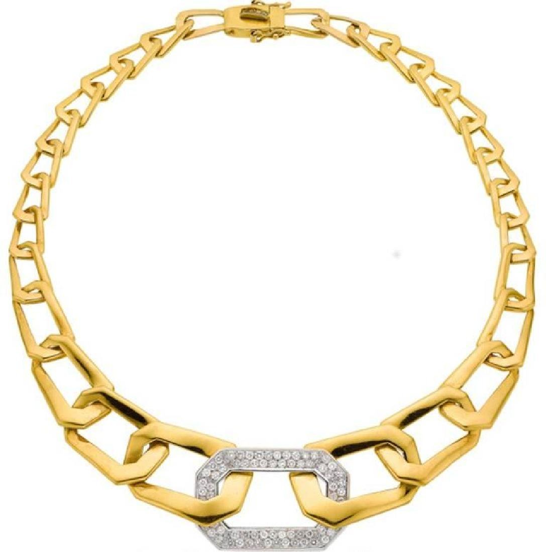 Diamond, Gold Necklace, Italian by Designer Nava