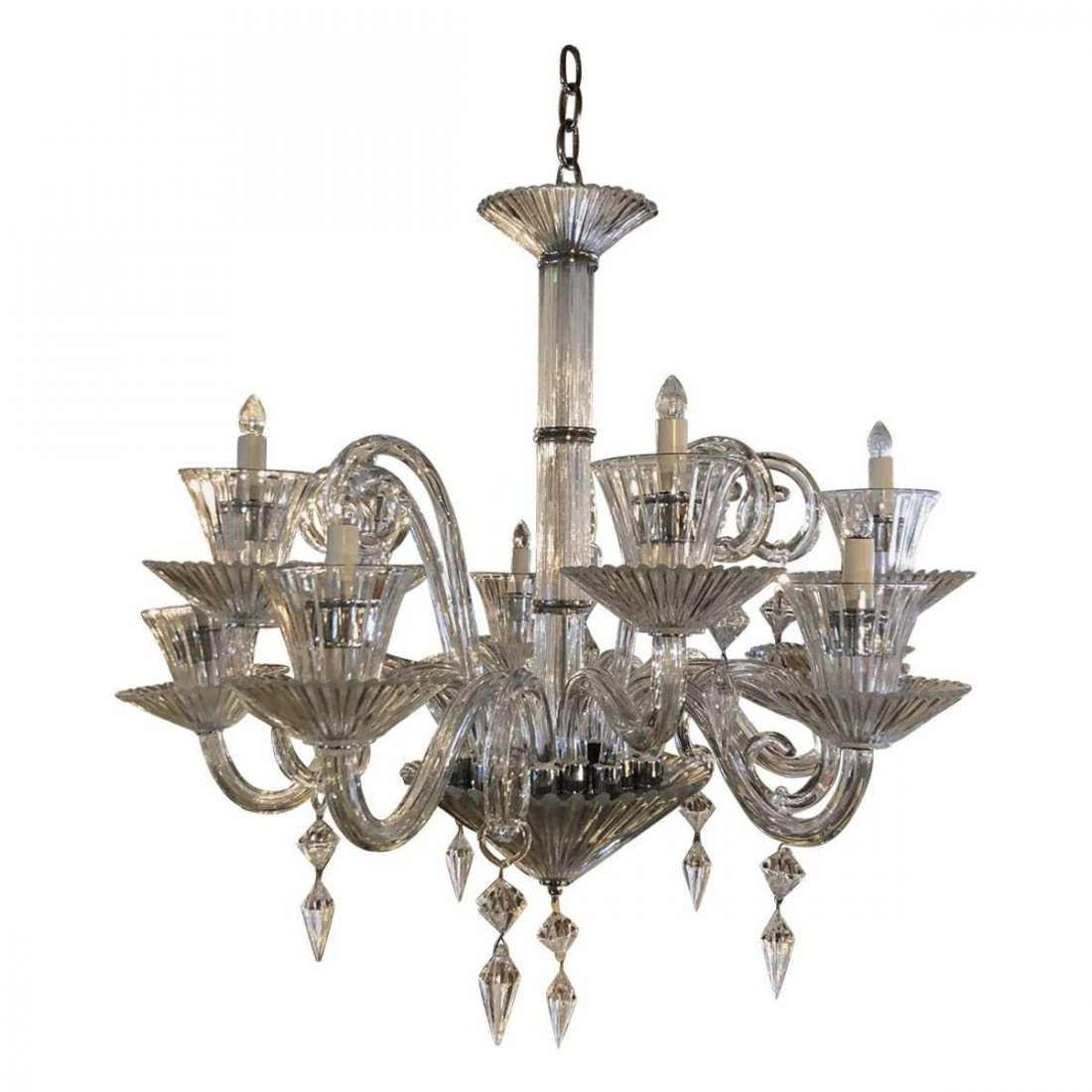 Italian Baccarat Style Modern   Ten-Light Chandelier