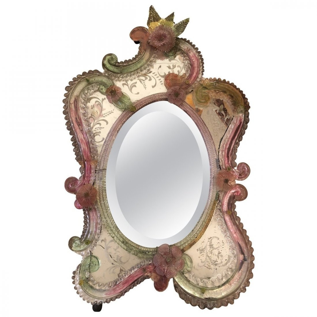 Murano Small Etched Floral Mirror