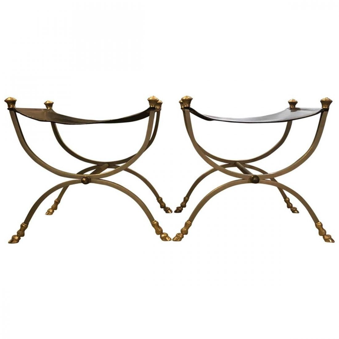 Maison Jansen Pair of Leather and Chrome Stools